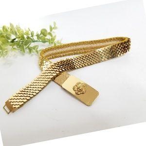 Vintage gold dragon mermaid scale elastic belt